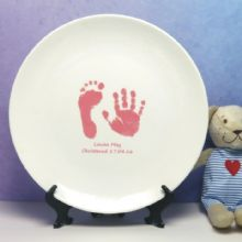 Ceramic Plate Displaying Baby Hand & Foot Print - Ideal Baby Keepsake, Christening Gift or Present for New Parents